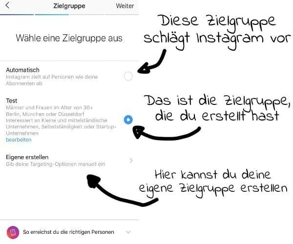 Zielgruppe für die Werbung auf Instagram auswählen.