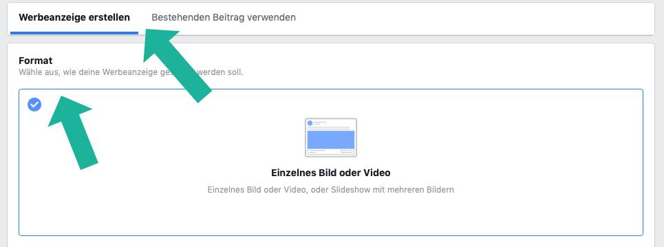Format für Facebook Ads wählen