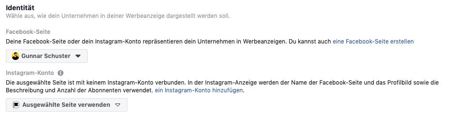 Identität der Facebook Ad wählen