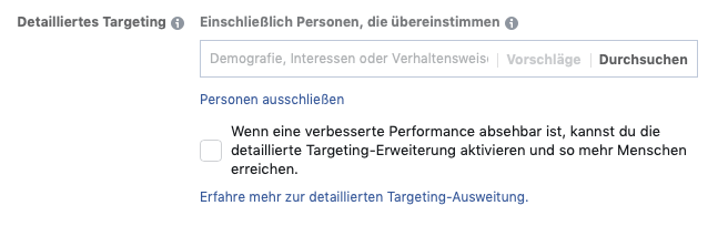 Interessen Facebook Ads