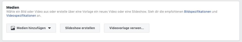 Medien für die Facebook Werbung wählen