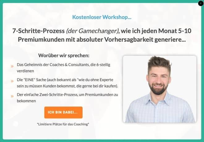 Optin für Coaching Funnel auf Blog
